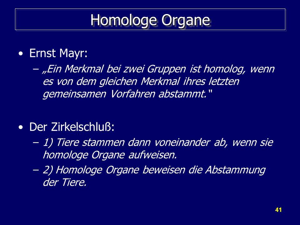 41 Homologe Organe Ernst Mayr: –Ein Merkmal bei zwei Gruppen ist homolog, wenn es von dem gleichen Merkmal ihres letzten gemeinsamen Vorfahren abstamm