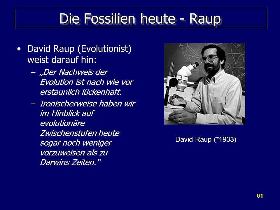 61 Die Fossilien heute - Raup David Raup (Evolutionist) weist darauf hin: –Der Nachweis der Evolution ist nach wie vor erstaunlich lückenhaft. –Ironis