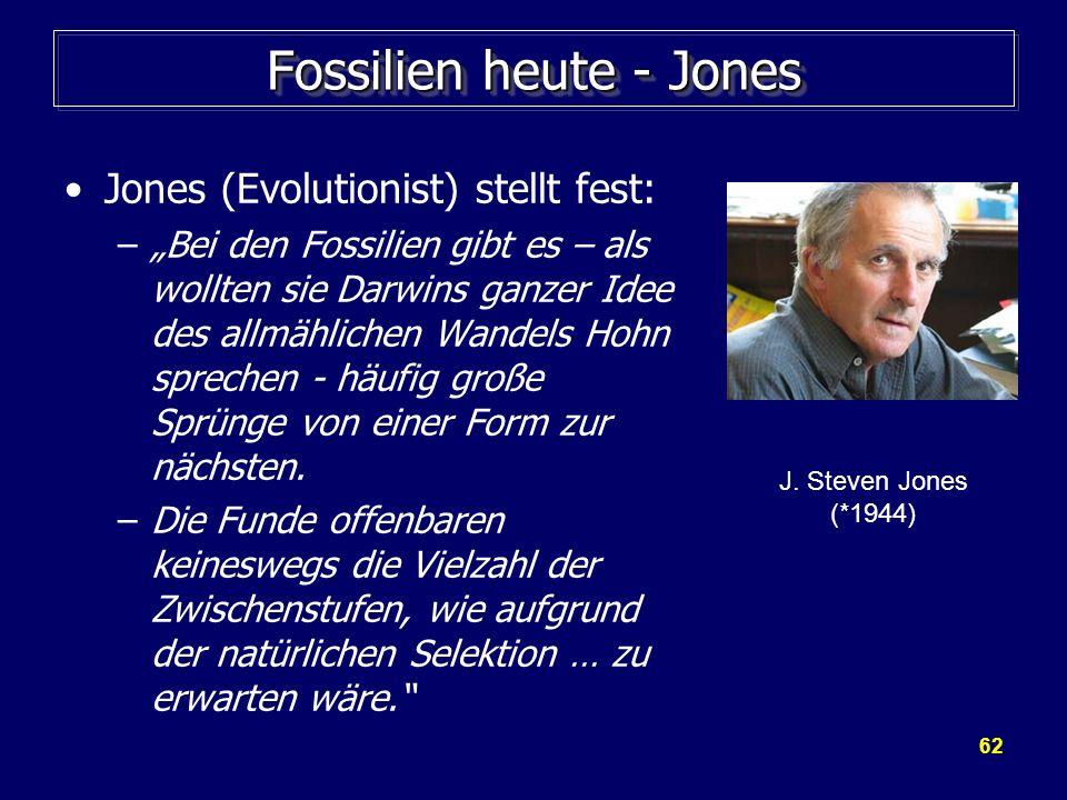 62 Fossilien heute - Jones Jones (Evolutionist) stellt fest: –Bei den Fossilien gibt es – als wollten sie Darwins ganzer Idee des allmählichen Wandels