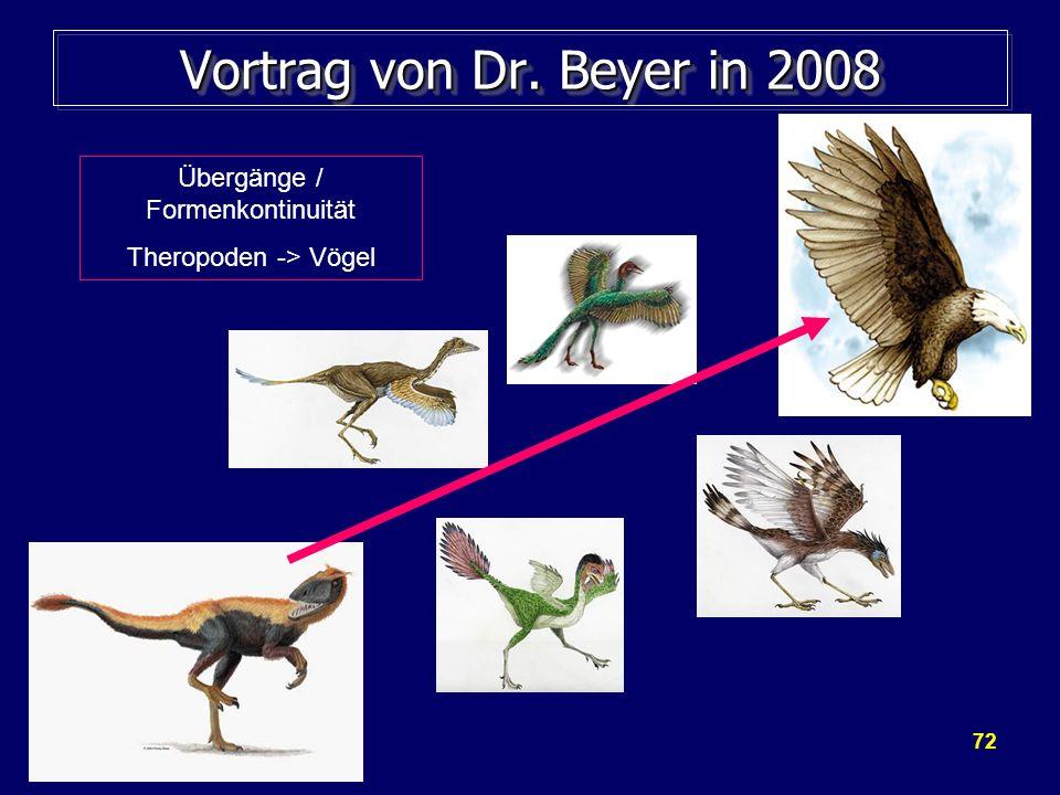 72 Vortrag von Dr. Beyer in 2008 Übergänge / Formenkontinuität Theropoden -> Vögel