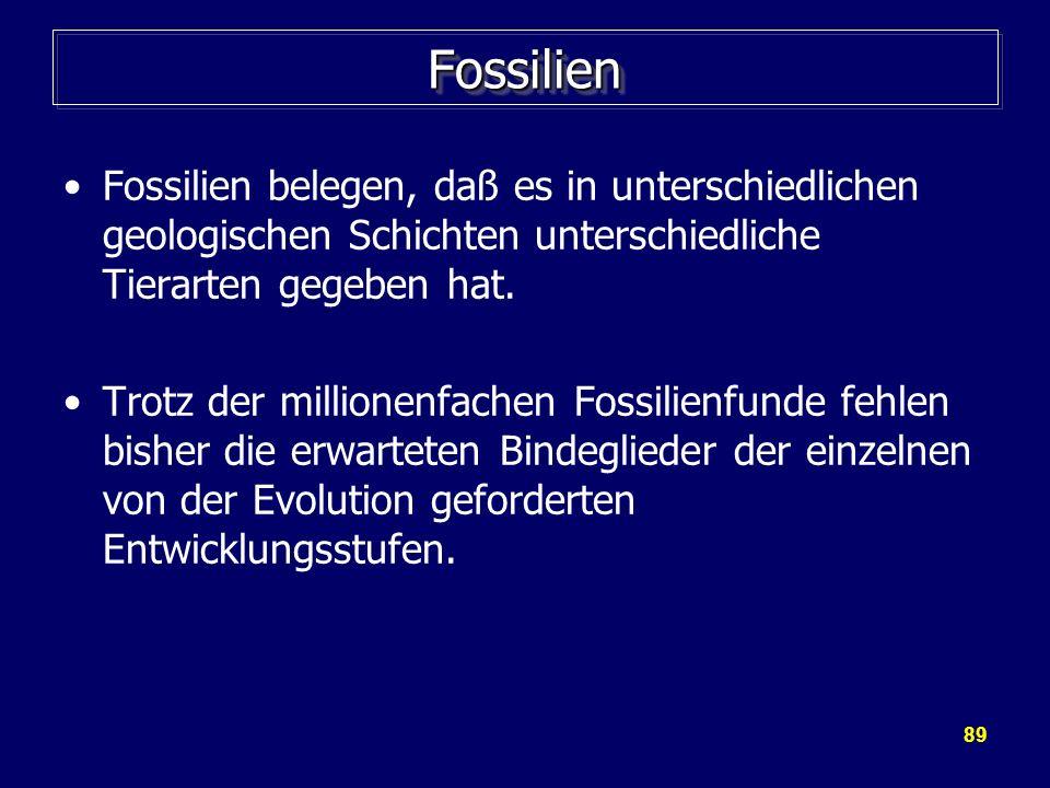 89 FossilienFossilien Fossilien belegen, daß es in unterschiedlichen geologischen Schichten unterschiedliche Tierarten gegeben hat. Trotz der millione