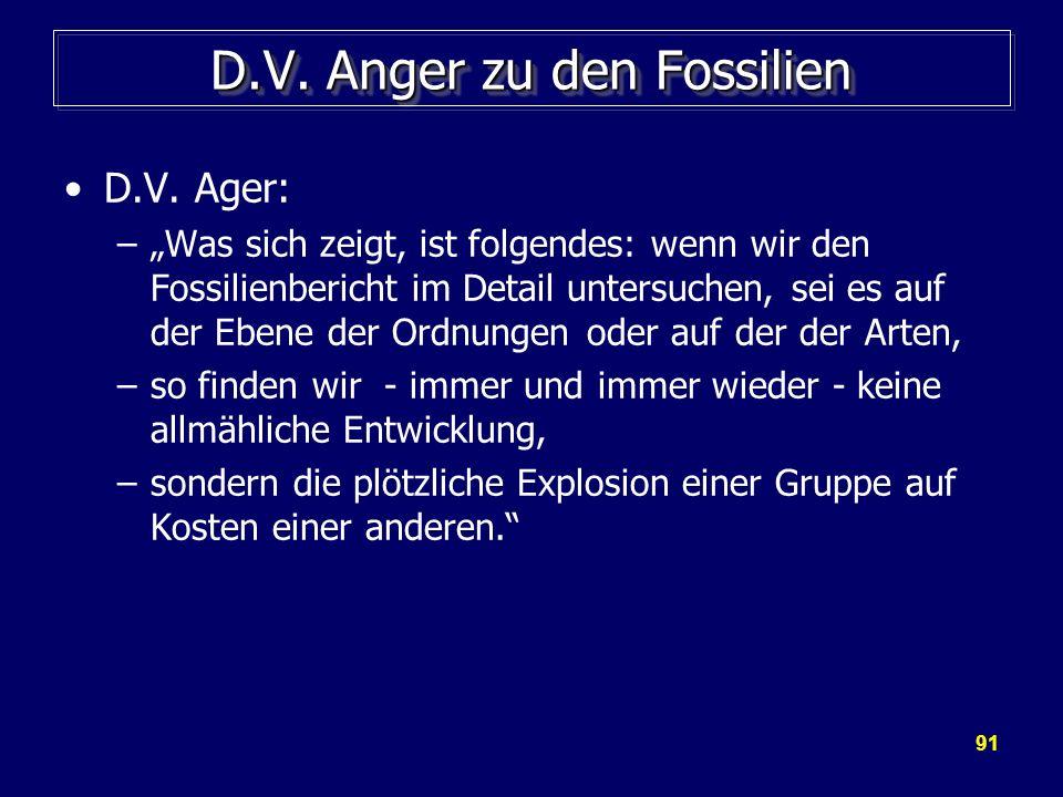 91 D.V. Anger zu den Fossilien D.V. Ager: –Was sich zeigt, ist folgendes: wenn wir den Fossilienbericht im Detail untersuchen, sei es auf der Ebene de