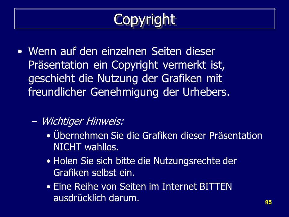 95 CopyrightCopyright Wenn auf den einzelnen Seiten dieser Präsentation ein Copyright vermerkt ist, geschieht die Nutzung der Grafiken mit freundliche