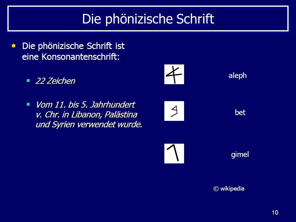 10 Die phönizische Schrift Die phönizische Schrift ist eine Konsonantenschrift: 22 Zeichen 22 Zeichen Vom 11. bis 5. Jahrhundert v. Chr. in Libanon, P