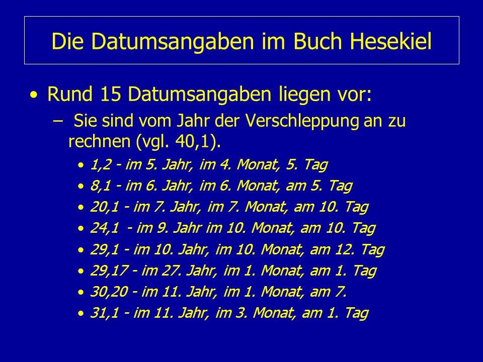 Die Datumsangaben im Buch Hesekiel Rund 15 Datumsangaben liegen vor: – Sie sind vom Jahr der Verschleppung an zu rechnen (vgl. 40,1). 1,2 - im 5. Jahr