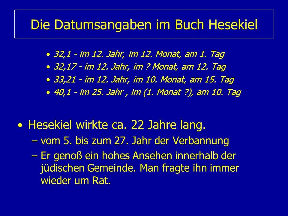 Die Datumsangaben im Buch Hesekiel 32,1 - im 12. Jahr, im 12. Monat, am 1. Tag 32,17 - im 12. Jahr, im ? Monat, am 12. Tag 33,21 - im 12. Jahr, im 10.