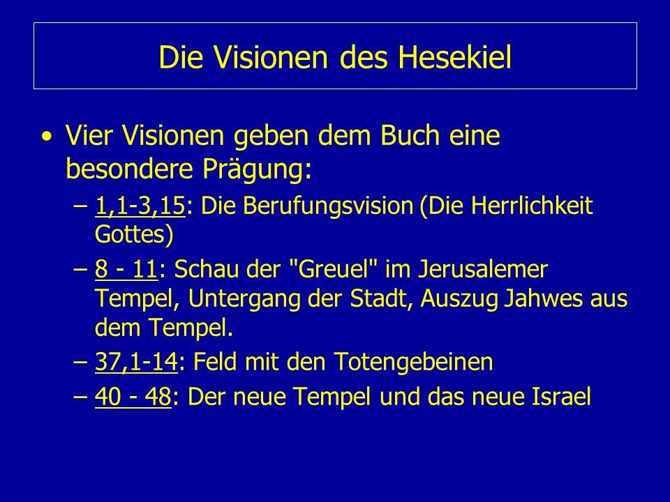 Die Visionen des Hesekiel Vier Visionen geben dem Buch eine besondere Prägung: –1,1-3,15: Die Berufungsvision (Die Herrlichkeit Gottes) –8 - 11: Schau