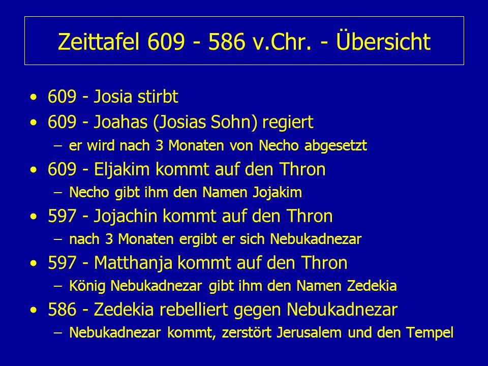 Zeittafel 609 - 586 v.Chr. - Übersicht 609 - Josia stirbt 609 - Joahas (Josias Sohn) regiert –er wird nach 3 Monaten von Necho abgesetzt 609 - Eljakim