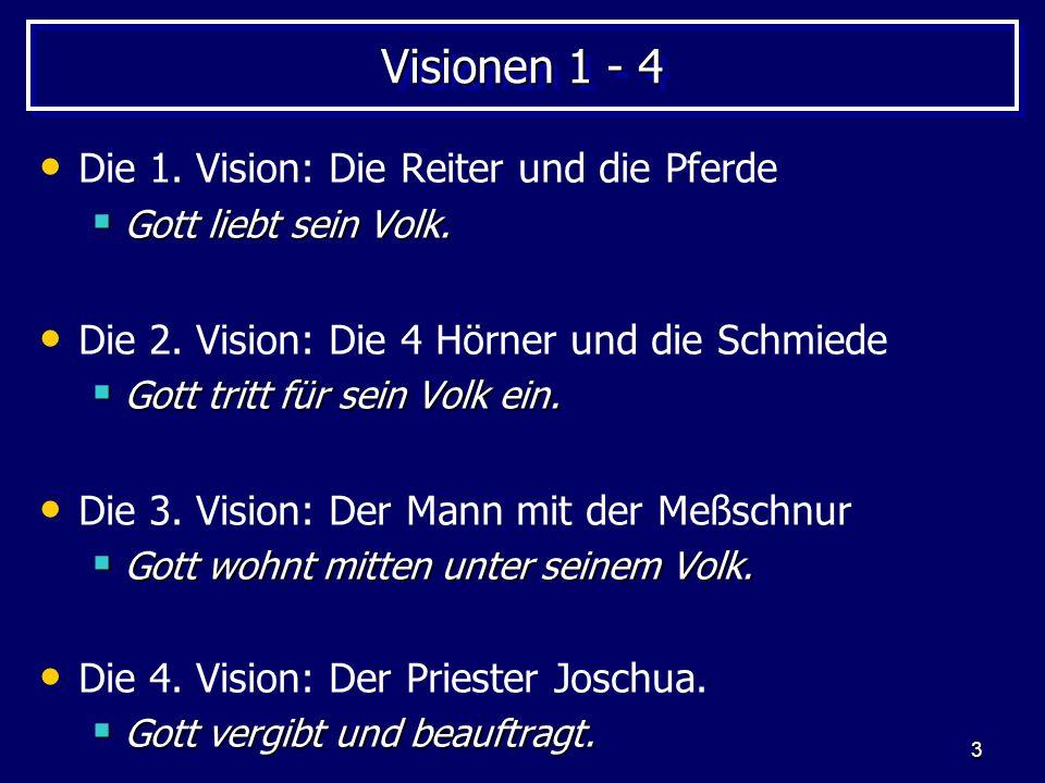 3 Visionen 1 - 4 Die 1. Vision: Die Reiter und die Pferde Gott liebt sein Volk. Gott liebt sein Volk. Die 2. Vision: Die 4 Hörner und die Schmiede Got