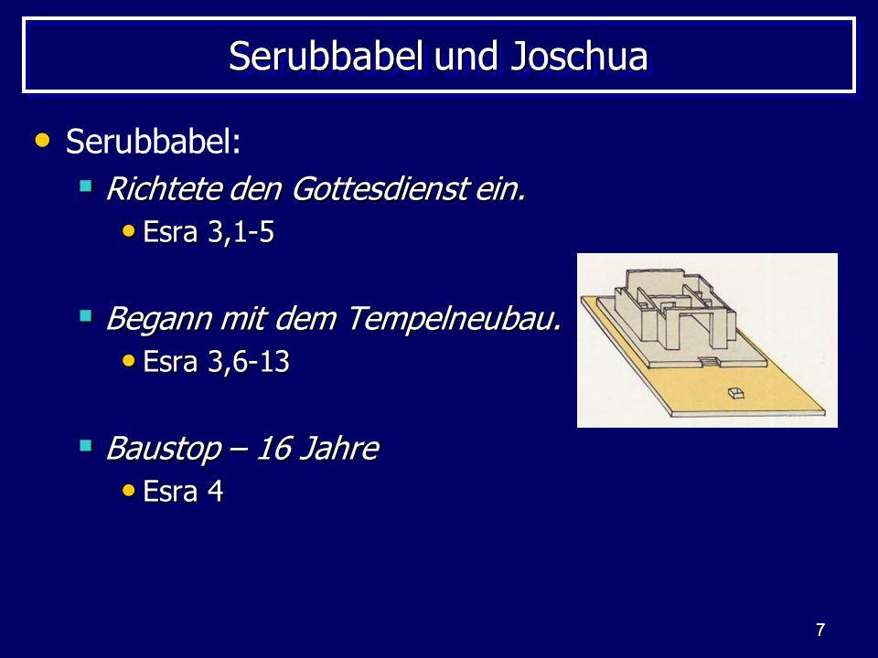 7 Serubbabel und Joschua Serubbabel: Richtete den Gottesdienst ein. Richtete den Gottesdienst ein. Esra 3,1-5 Esra 3,1-5 Begann mit dem Tempelneubau.