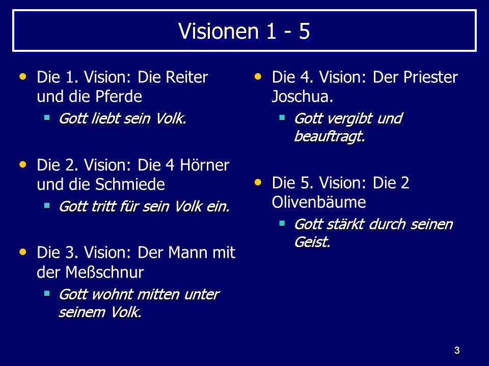 3 Visionen 1 - 5 Die 1. Vision: Die Reiter und die Pferde Gott liebt sein Volk. Gott liebt sein Volk. Die 2. Vision: Die 4 Hörner und die Schmiede Got