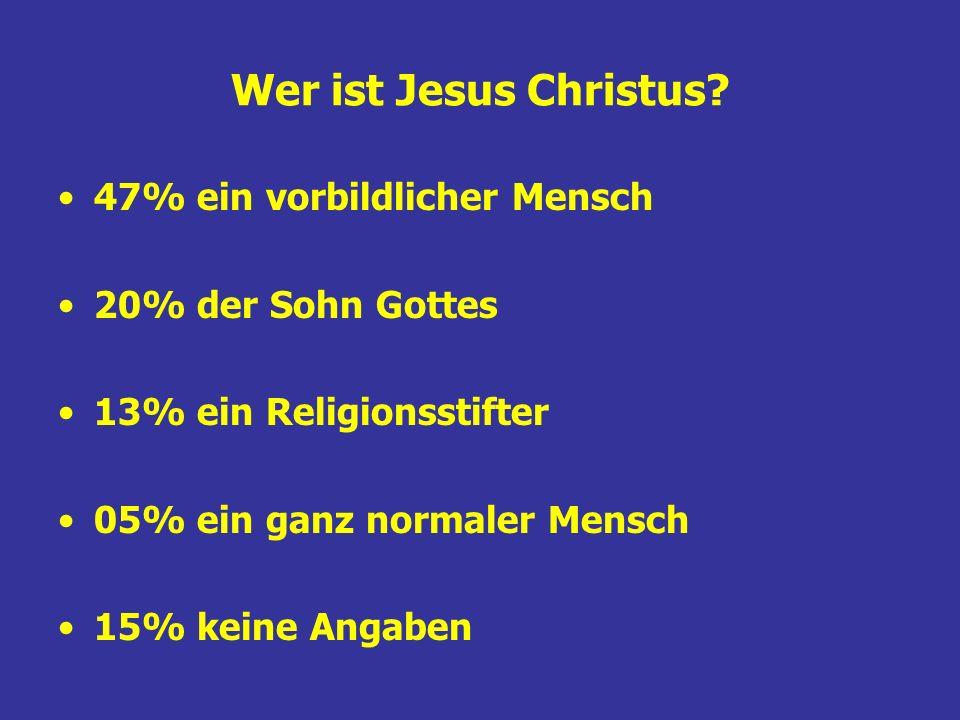 Wer ist Jesus Christus? 47% ein vorbildlicher Mensch 20% der Sohn Gottes 13% ein Religionsstifter 05% ein ganz normaler Mensch 15% keine Angaben