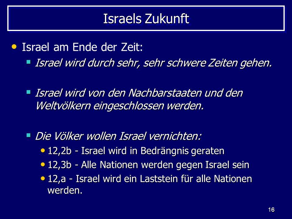 16 Israels Zukunft Israel am Ende der Zeit: Israel wird durch sehr, sehr schwere Zeiten gehen. Israel wird durch sehr, sehr schwere Zeiten gehen. Isra