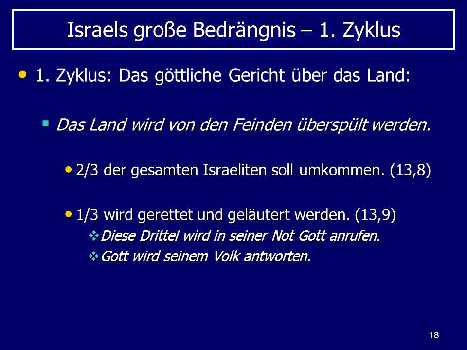 18 Israels große Bedrängnis – 1. Zyklus 1. Zyklus: Das göttliche Gericht über das Land: Das Land wird von den Feinden überspült werden. Das Land wird