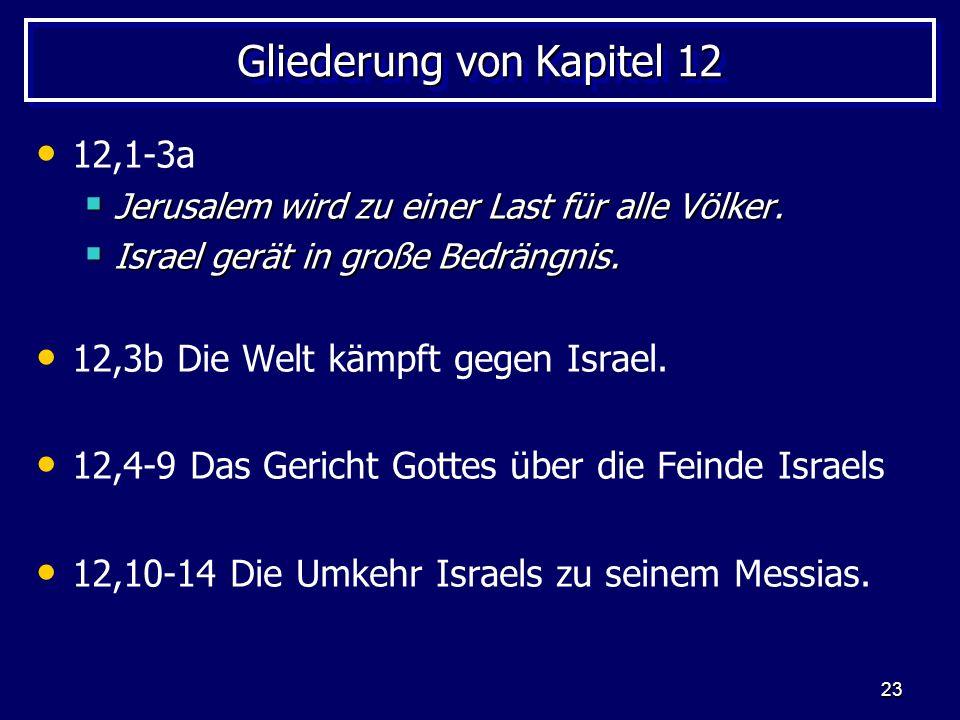 23 Gliederung von Kapitel 12 12,1-3a Jerusalem wird zu einer Last für alle Völker. Jerusalem wird zu einer Last für alle Völker. Israel gerät in große