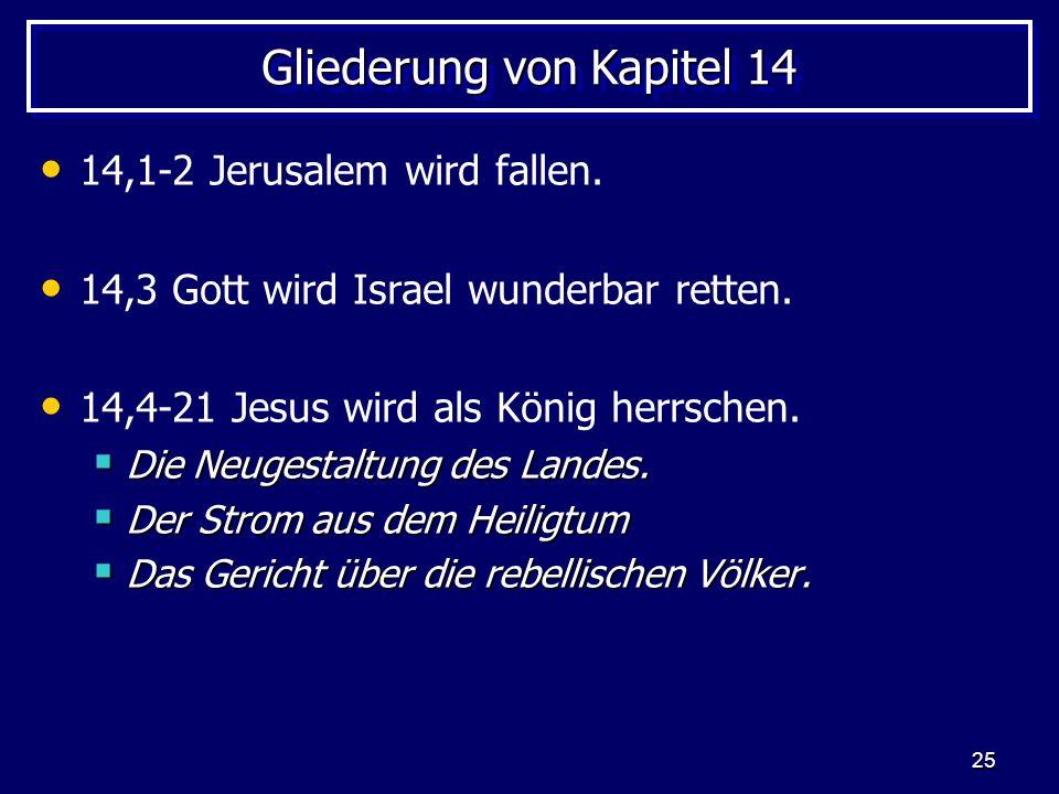 25 Gliederung von Kapitel 14 14,1-2 Jerusalem wird fallen. 14,3 Gott wird Israel wunderbar retten. 14,4-21 Jesus wird als König herrschen. Die Neugest