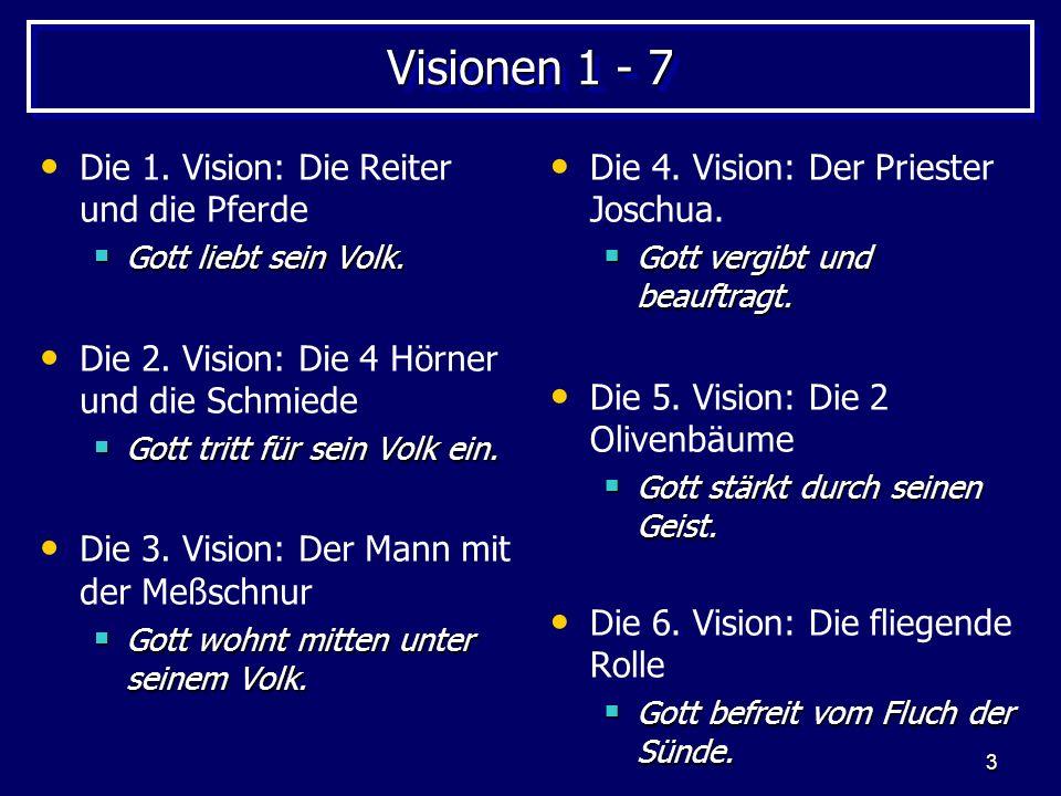 3 Visionen 1 - 7 Die 1. Vision: Die Reiter und die Pferde Gott liebt sein Volk. Gott liebt sein Volk. Die 2. Vision: Die 4 Hörner und die Schmiede Got