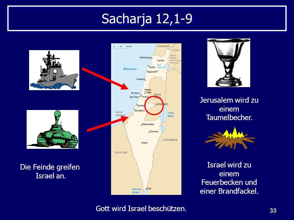33 Sacharja 12,1-9 Die Feinde greifen Israel an. Jerusalem wird zu einem Taumelbecher. Israel wird zu einem Feuerbecken und einer Brandfackel. Gott wi