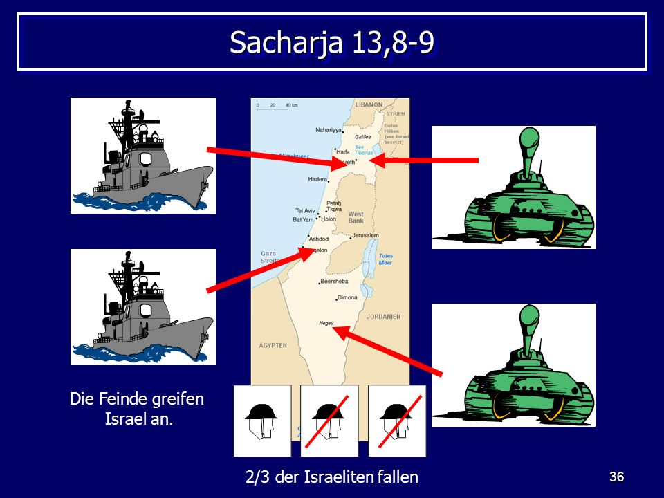 36 Sacharja 13,8-9 Die Feinde greifen Israel an. 2/3 der Israeliten fallen