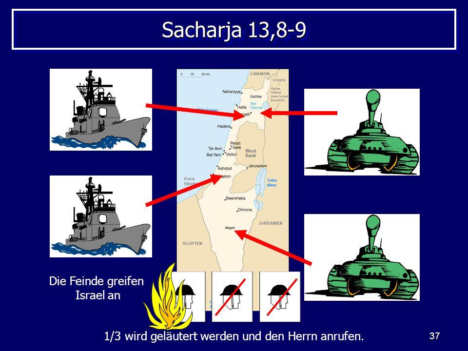 37 Sacharja 13,8-9 Die Feinde greifen Israel an 1/3 wird geläutert werden und den Herrn anrufen.