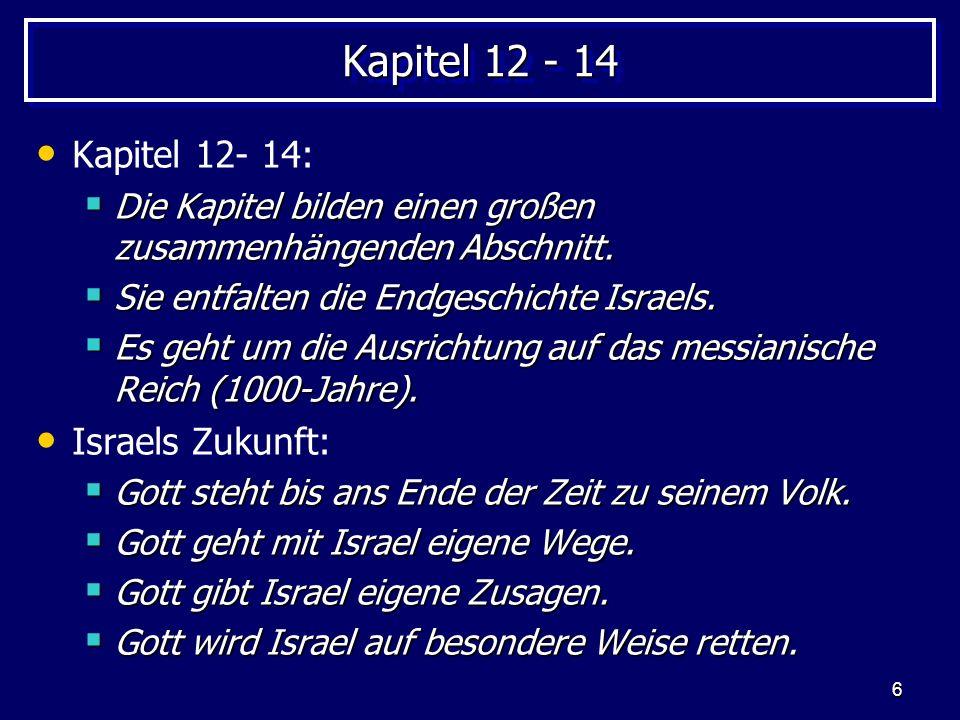 6 Kapitel 12 - 14 Kapitel 12- 14: Die Kapitel bilden einen großen zusammenhängenden Abschnitt. Die Kapitel bilden einen großen zusammenhängenden Absch