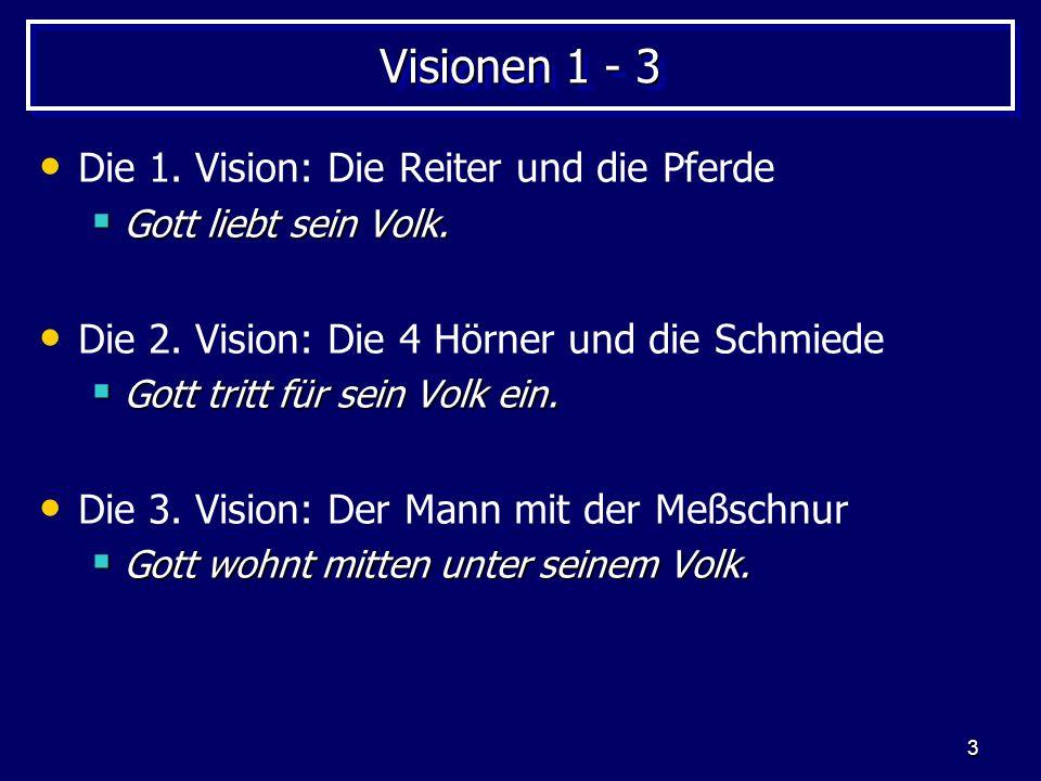3 Visionen 1 - 3 Die 1. Vision: Die Reiter und die Pferde Gott liebt sein Volk. Gott liebt sein Volk. Die 2. Vision: Die 4 Hörner und die Schmiede Got