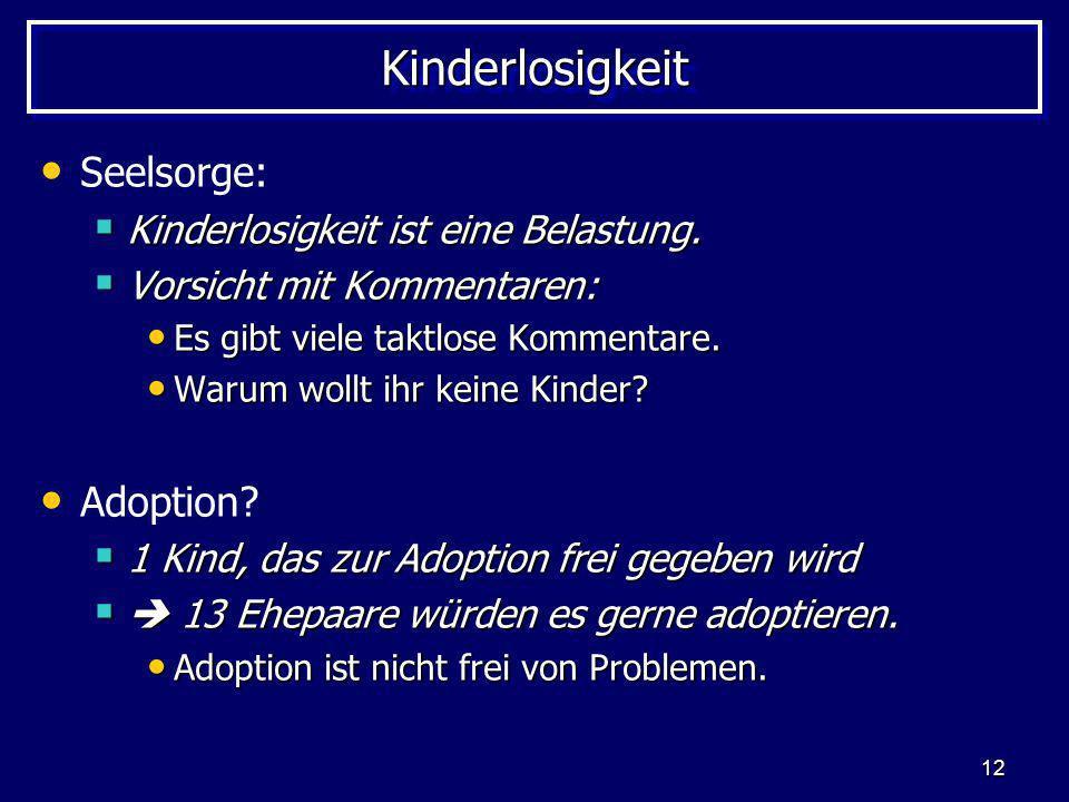 12 KinderlosigkeitKinderlosigkeit Seelsorge: Kinderlosigkeit ist eine Belastung. Kinderlosigkeit ist eine Belastung. Vorsicht mit Kommentaren: Vorsich