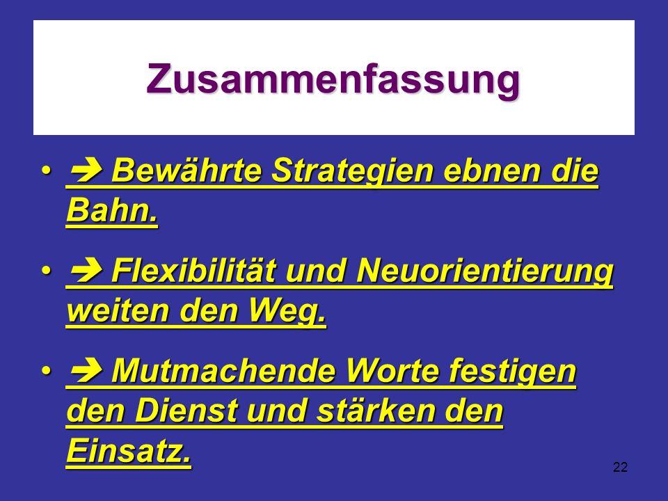 22 Zusammenfassung Bewährte Strategien ebnen die Bahn. Bewährte Strategien ebnen die Bahn. Flexibilität und Neuorientierung weiten den Weg. Flexibilit