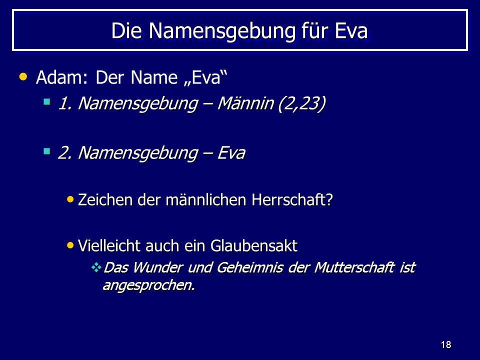 18 Die Namensgebung für Eva Adam: Der Name Eva 1. Namensgebung – Männin (2,23) 1. Namensgebung – Männin (2,23) 2. Namensgebung – Eva 2. Namensgebung –