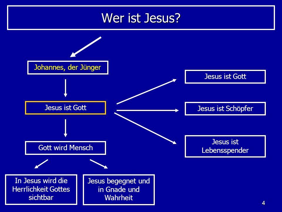 4 Wer ist Jesus? Johannes, der Jünger Jesus ist Gott Gott wird Mensch In Jesus wird die Herrlichkeit Gottes sichtbar Jesus begegnet und in Gnade und W