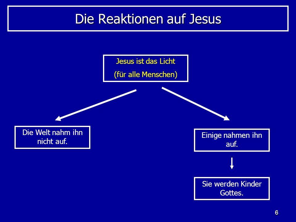 6 Die Reaktionen auf Jesus Jesus ist das Licht (für alle Menschen) Die Welt nahm ihn nicht auf. Einige nahmen ihn auf. Sie werden Kinder Gottes.