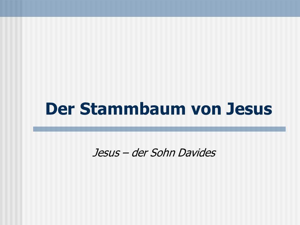 Der Stammbaum von Jesus Jesus – der Sohn Davides