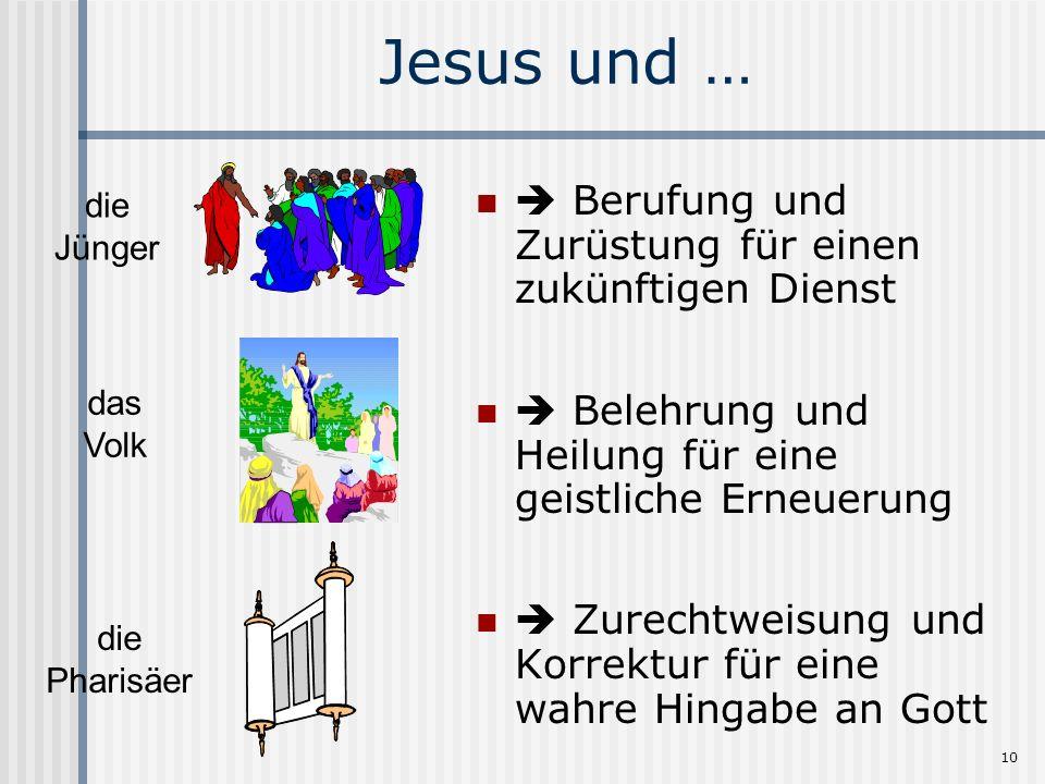 10 Jesus und … Berufung und Zurüstung für einen zukünftigen Dienst Belehrung und Heilung für eine geistliche Erneuerung Zurechtweisung und Korrektur f