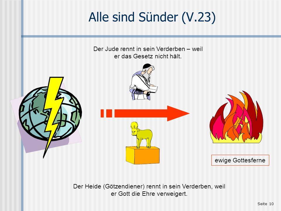 Seite 10 Alle sind Sünder (V.23) ewige Gottesferne Der Jude rennt in sein Verderben – weil er das Gesetz nicht hält. Der Heide (Götzendiener) rennt in