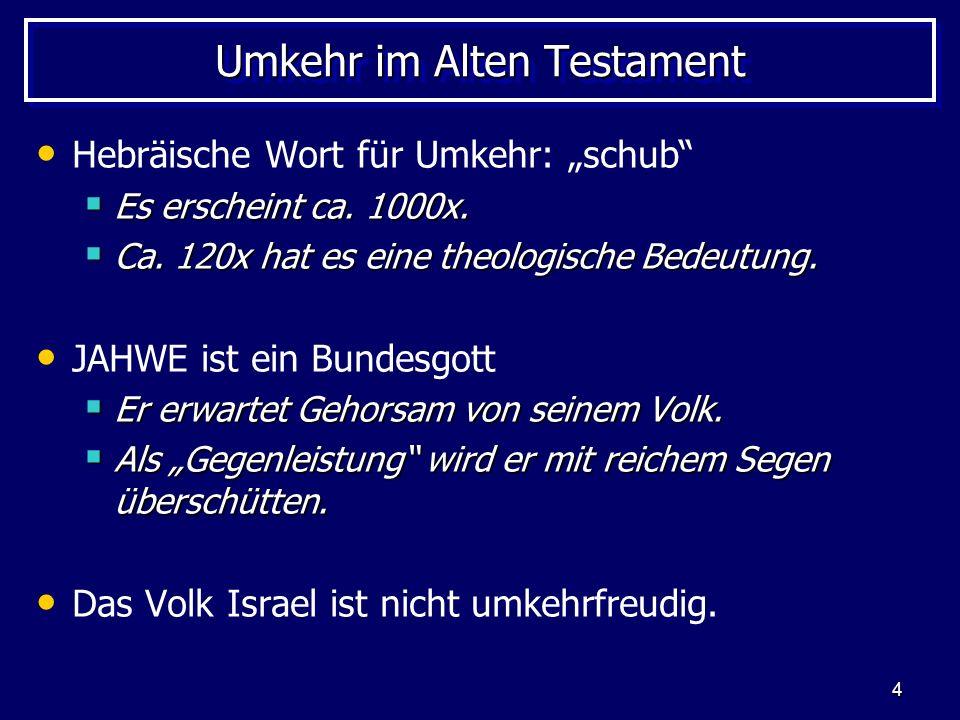 5 Umkehr im Alten Testament Die notwendige Umkehr: Umkehr ist immer wieder nötig, weil sich das Volk Israel in Rebellion gegen JAHWE verstrickt.