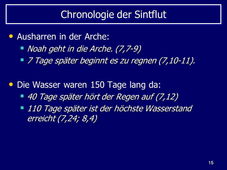 15 Chronologie der Sintflut Ausharren in der Arche: Noah geht in die Arche. (7,7-9) Noah geht in die Arche. (7,7-9) 7 Tage später beginnt es zu regnen