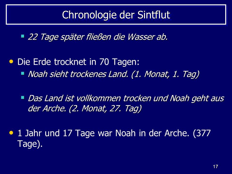 17 Chronologie der Sintflut 22 Tage später fließen die Wasser ab. 22 Tage später fließen die Wasser ab. Die Erde trocknet in 70 Tagen: Noah sieht troc