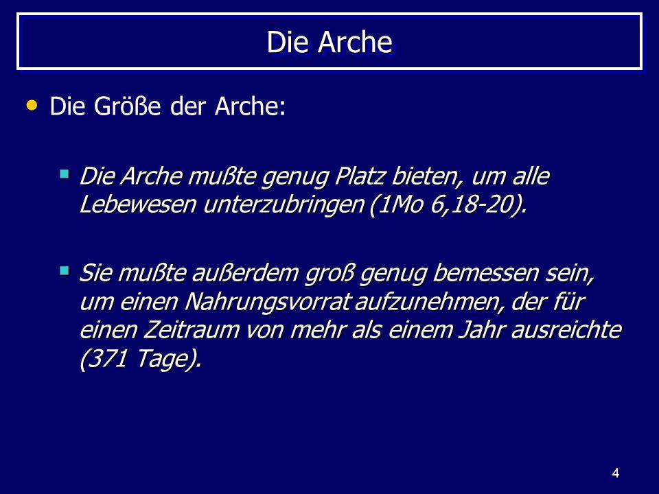 4 Die Arche Die Größe der Arche: Die Arche mußte genug Platz bieten, um alle Lebewesen unterzubringen (1Mo 6,18-20). Die Arche mußte genug Platz biete