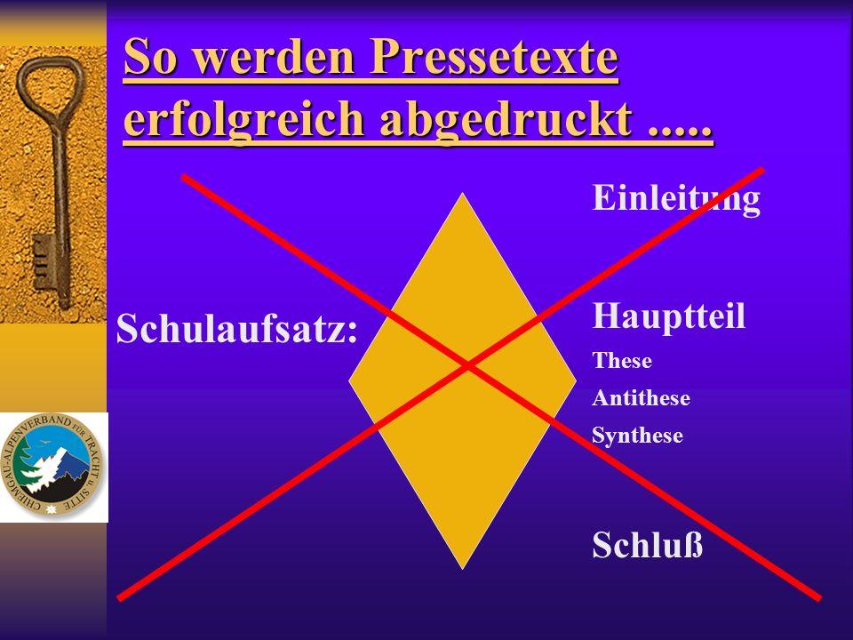 So werden Pressetexte erfolgreich abgedruckt..... Schulaufsatz: Einleitung Hauptteil These Antithese Synthese Schluß