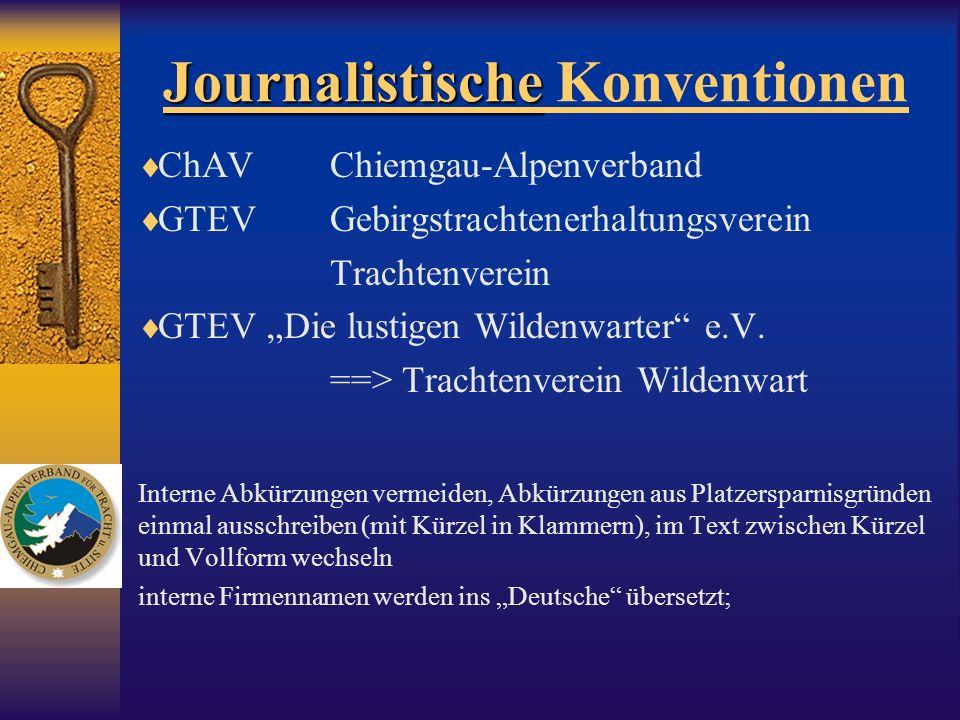 Journalistische Journalistische Konventionen ChAVChiemgau-Alpenverband GTEVGebirgstrachtenerhaltungsverein Trachtenverein GTEV Die lustigen Wildenwart