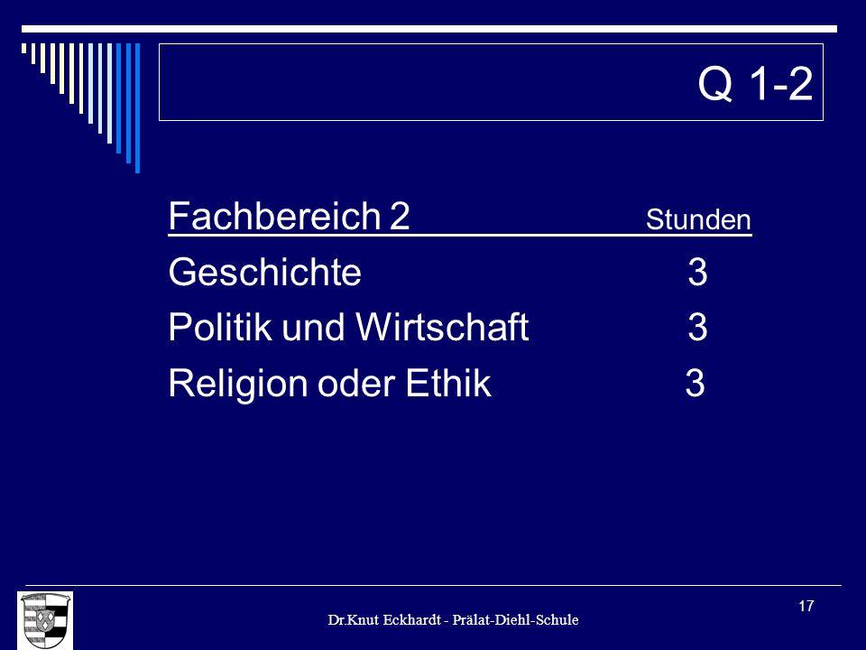 Dr.Knut Eckhardt - Prälat-Diehl-Schule 17 Fachbereich 2 Stunden Geschichte3 Politik und Wirtschaft 3 Religion oder Ethik 3 Q 1-2