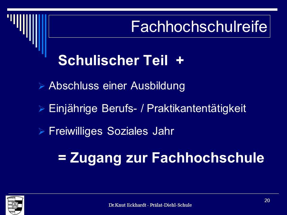 Dr.Knut Eckhardt - Prälat-Diehl-Schule 20 Schulischer Teil + Abschluss einer Ausbildung Einjährige Berufs- / Praktikantentätigkeit Freiwilliges Sozial