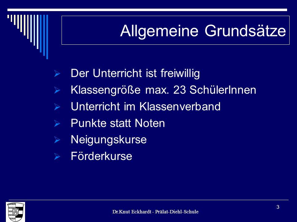 Dr.Knut Eckhardt - Prälat-Diehl-Schule 3 Der Unterricht ist freiwillig Klassengröße max. 23 SchülerInnen Unterricht im Klassenverband Punkte statt Not