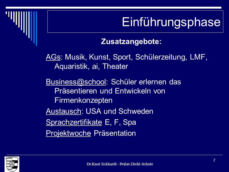Dr.Knut Eckhardt - Prälat-Diehl-Schule 7 Zusatzangebote: AGs: Musik, Kunst, Sport, Schülerzeitung, LMF, Aquaristik, ai, Theater Business@school: Schül