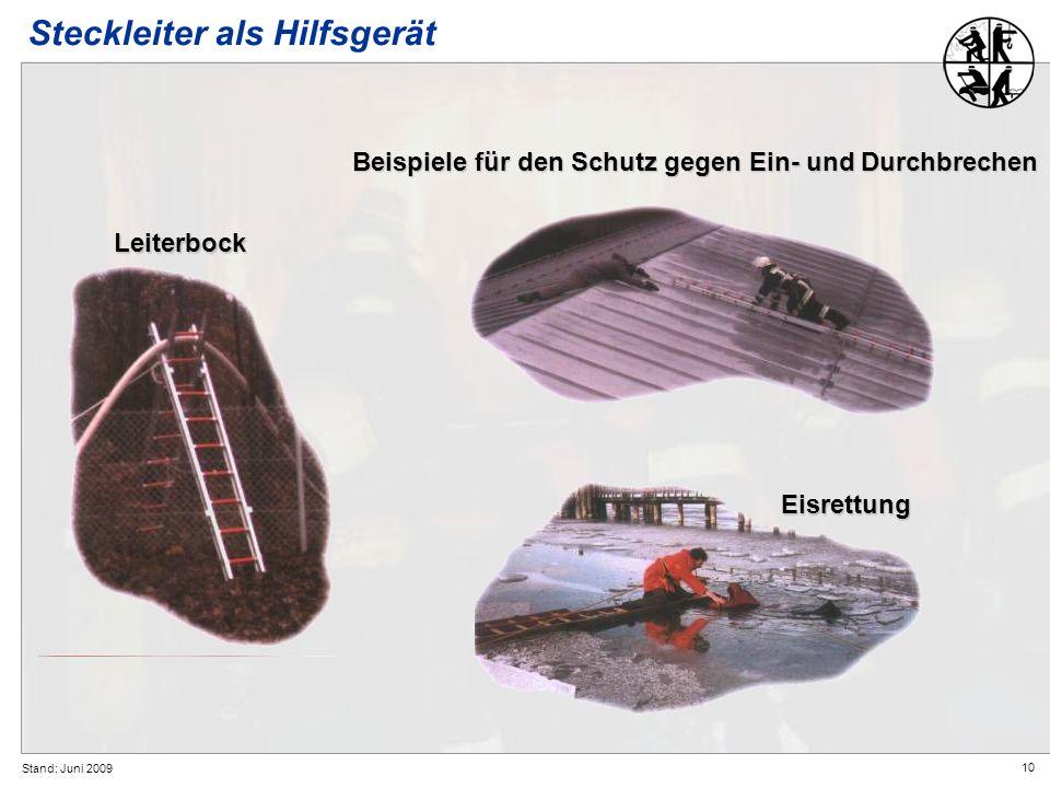 10 Stand: Juni 2009 Eisrettung Steckleiter als HilfsgerätLeiterbock Beispiele für den Schutz gegen Ein- und Durchbrechen