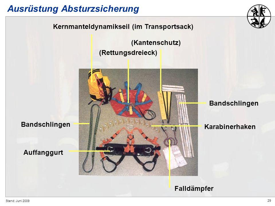 29 Stand: Juni 2009 Ausrüstung Absturzsicherung Kernmanteldynamikseil (im Transportsack) (Rettungsdreieck) Bandschlingen Falldämpfer Auffanggurt Bands