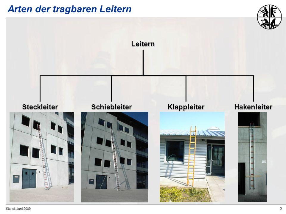 3 Stand: Juni 2009 Arten der tragbaren Leitern Leitern SteckleiterHakenleiterSchiebleiterKlappleiter