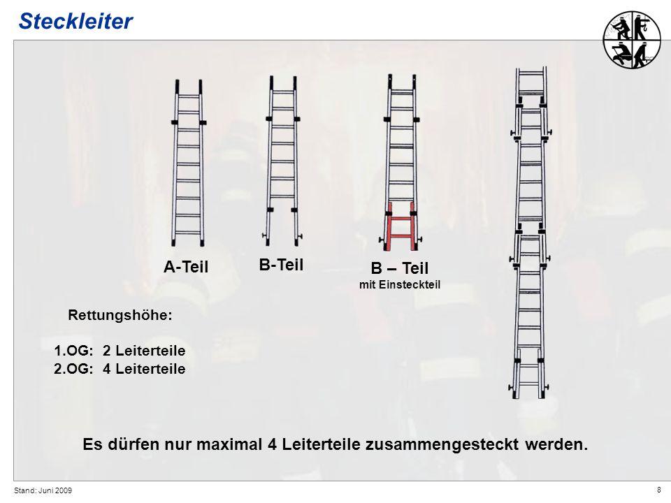8 Stand: Juni 2009 Steckleiter B-Teil B – Teil mit Einsteckteil Es dürfen nur maximal 4 Leiterteile zusammengesteckt werden. A-Teil Rettungshöhe: 1.OG