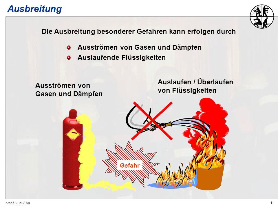 11 Stand: Juni 2009 Ausströmen von Gasen und Dämpfen Auslaufende Flüssigkeiten Ausbreitung Die Ausbreitung besonderer Gefahren kann erfolgen durch Aus