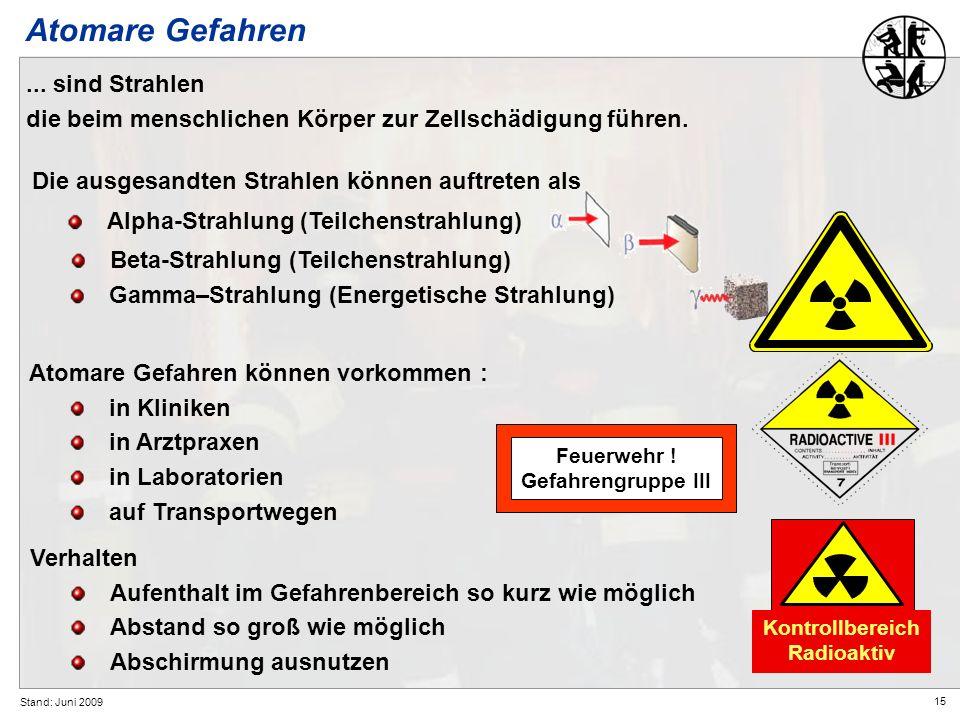 15 Stand: Juni 2009 Atomare Gefahren können vorkommen : in Kliniken in Arztpraxen in Laboratorien auf Transportwegen Verhalten Aufenthalt im Gefahrenb